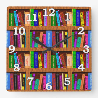 Library Book Shelf Pattern for Readers Square Wall Clock