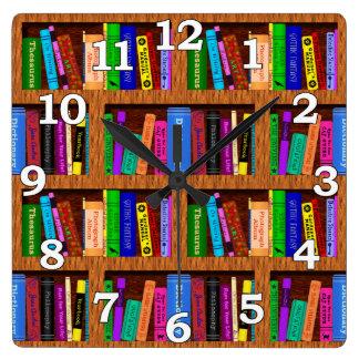 Library Book Shelf Pattern for Readers Wallclock