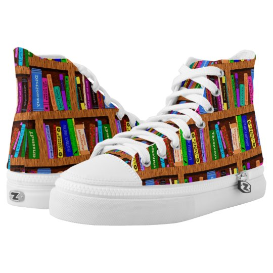 Library Books Bookshelf Pattern Colourful Readers Printed Shoes