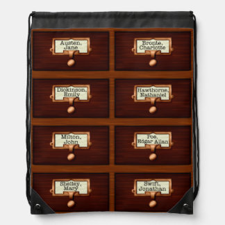 Library Books Wood Card Catalog Drawers Reading Backpack