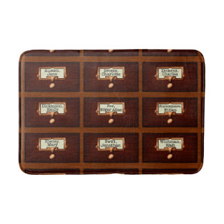 Library Books Wood Card Catalog Drawers Reading Bath Mats