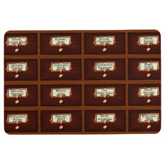 Library Books Wood Card Catalog Drawers Reading Floor Mat