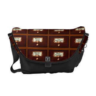 Library Books Wood Card Catalog Drawers Reading Messenger Bag