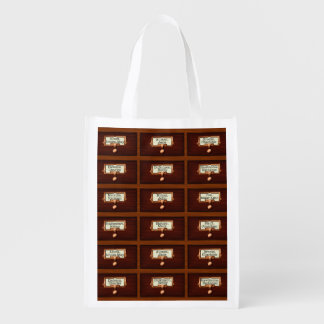 Library Books Wood Card Catalog Drawers Reading Reusable Grocery Bag
