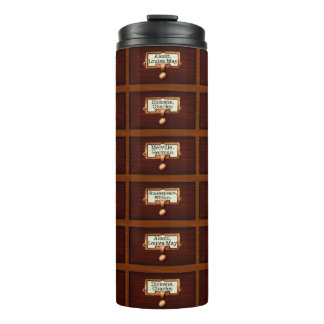 Library Books Wood Card Catalog Drawers Reading Thermal Tumbler