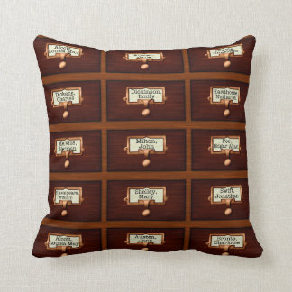 Library Books Wood Card Catalog Drawers Reading Throw Pillow