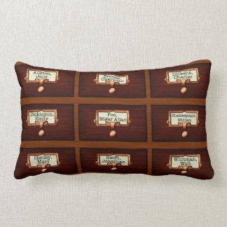 Library Books Wood Card Catalogue Drawers Reading Lumbar Pillow