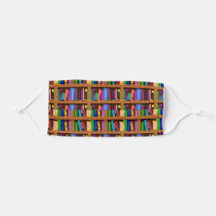 Library Bookshelf Colorful Books Reader Pattern Cloth Face Mask