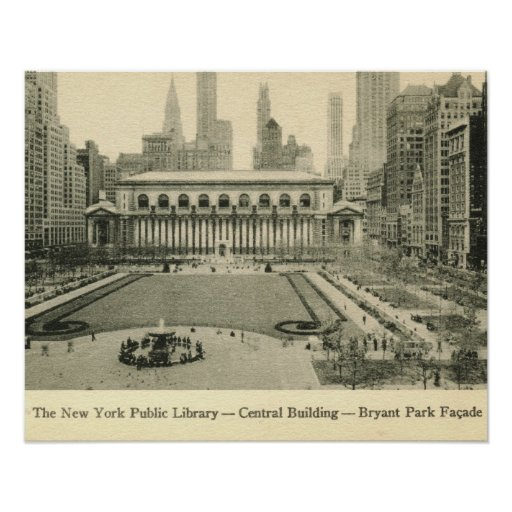 Library, Bryant Park, New York City Vintage Poster