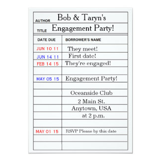 """""""Library Card"""" Engagement Party Invitations"""