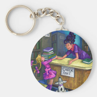Library Check Out Artwork Basic Round Button Key Ring
