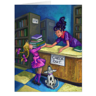 Library Check Out Artwork Big Greeting Card