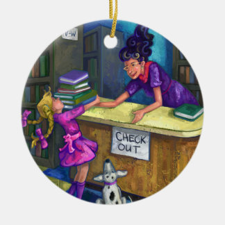 Library Check Out Artwork Round Ceramic Decoration