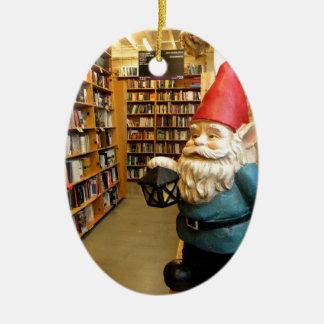 Library Gnome I Ceramic Oval Decoration