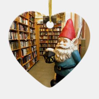 Library Gnome I Ceramic Heart Decoration