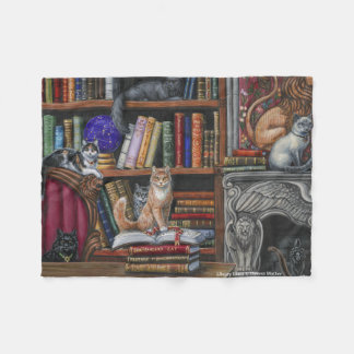 Library Lions Cats Fleece Blanket