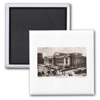 Library, New York City c1910 Vintage Square Magnet
