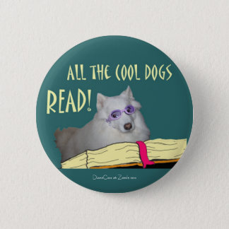 Library - Samoyed - Cool Dogs Read Literacy 6 Cm Round Badge