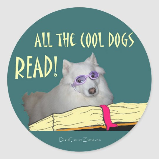 Library - Samoyed - Cool Dogs Read Literacy Classic Round Sticker