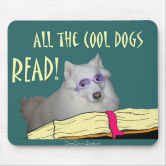 Library - Samoyed - Cool Dogs Read Literacy Mouse Mat