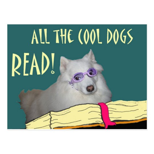 Library - Samoyed - Cool Dogs Read Literacy