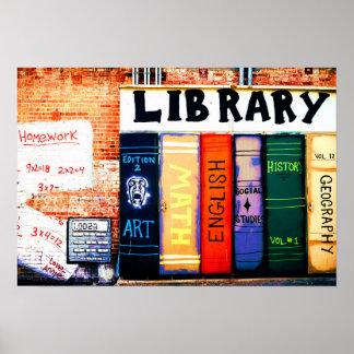 Library Wall Graffiti Poster