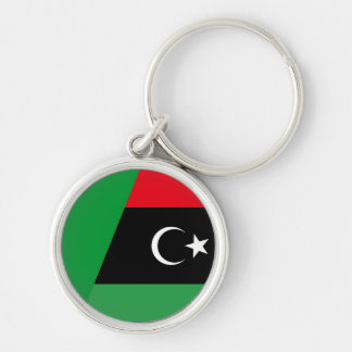 libya combined Silver-Colored round key ring