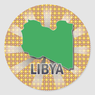 Libya Flag Map 2.0 Classic Round Sticker