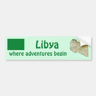 Libya Flag + Map Bumper Sticker