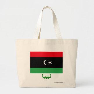 Libya Flag with Name in Arabic Jumbo Tote Bag