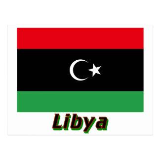 Libya Flag with Name Postcard