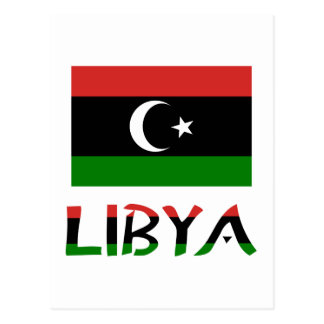 Libya Flag & Word Postcard