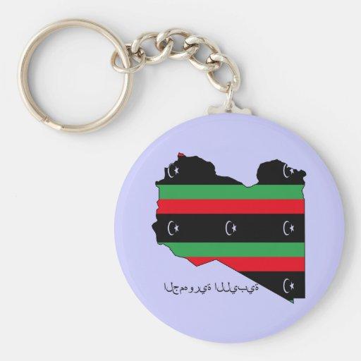 Libyan Republic (flag on map) Keychain