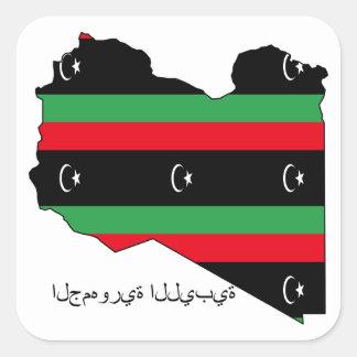 Libyan Republic flag on map Sticker