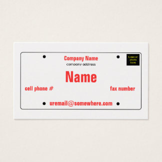 License Plate Business Card