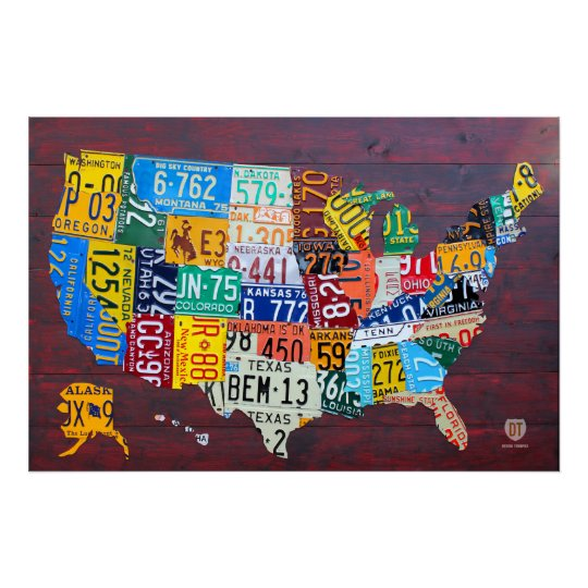 License Plate Map of the United States 2012