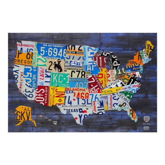 License Plate Map of the United States Blue