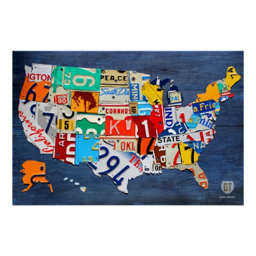License Plate Map of the United States on