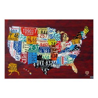License Plate Map of the USA 2011 Edition 3 Poster