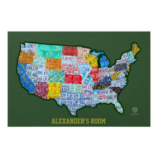 License Plate Map of the USA on Green Custom Text Poster