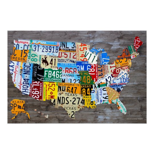 License Plate Map of the USA on Grey