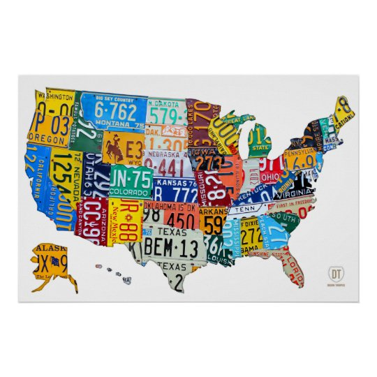 License Plate Map of the USA on White