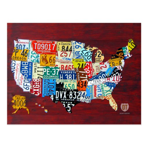 License Plate Map of the USA Postcard
