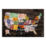 License Plate Map of The USA - Warm Colours / Poster
