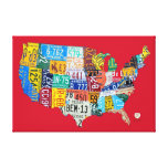 License Plate Map of the USA Wrapped Canvas 36x24 Gallery Wrap Canvas