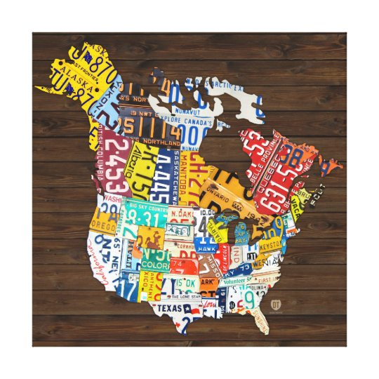License Plate of North America - Canada and USA Canvas Print