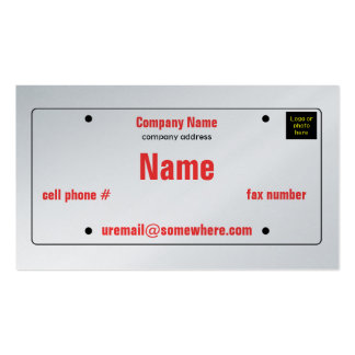 License Plate Pack Of Standard Business Cards