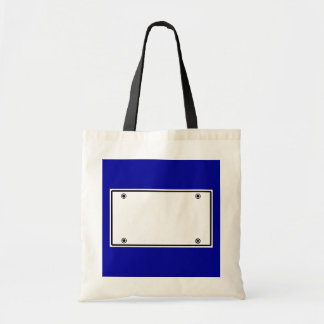 License plate template tote bag