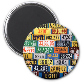License Plates by H. Wilson Smith 6 Cm Round Magnet