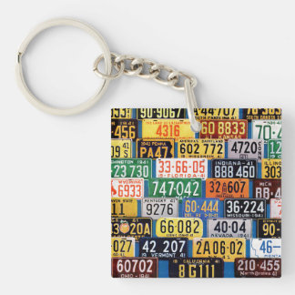 License Plates by H. Wilson Smith Double-Sided Square Acrylic Key Ring
